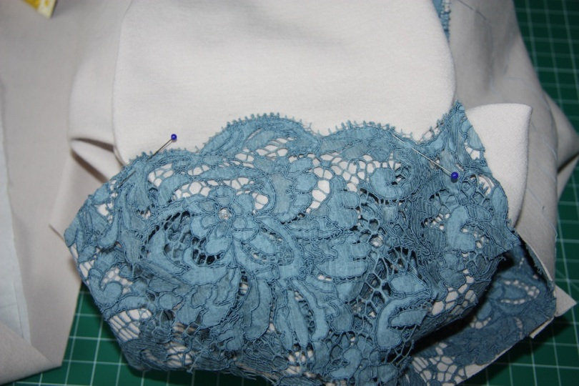 Then place the lace so it matches at the front and back