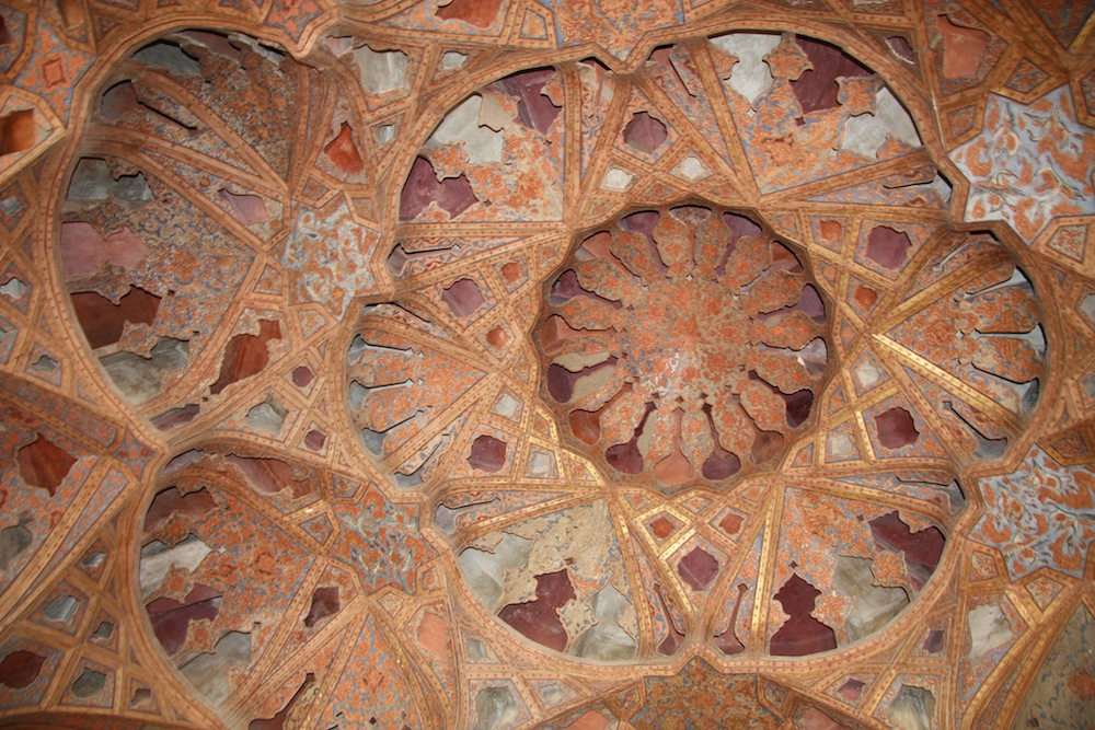 The ceiling of the music room, at AliQapu Palace, Imam Square in Esfahan, Iran.