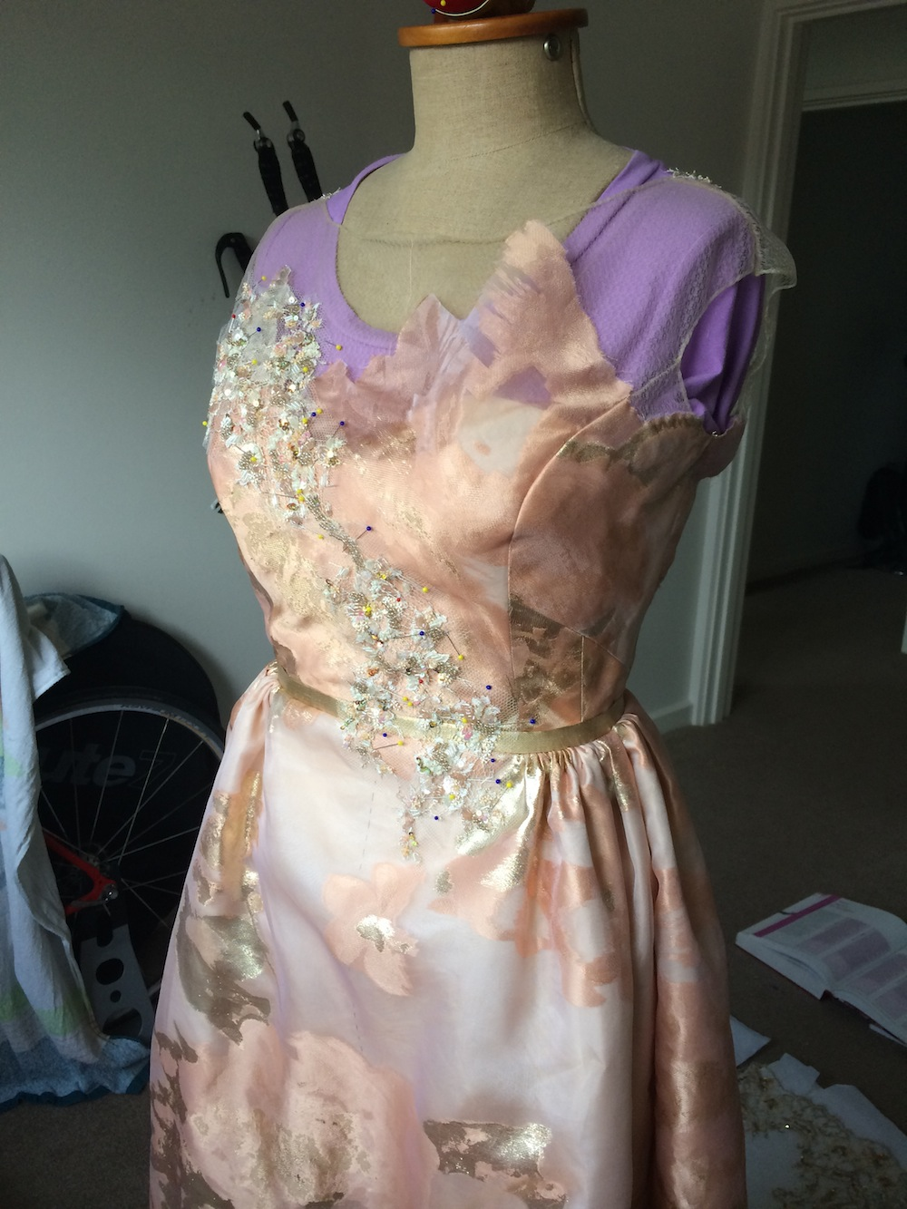 I started on the bodice and worked my way down the skirt.