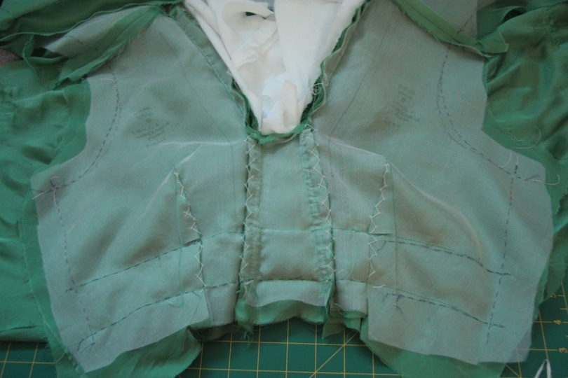 The 'extended' trapezium as viewed from the inside - the stitch line across the bodice shows where it would have originally stopped.