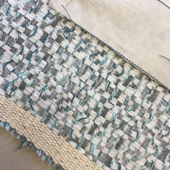Marion bought a really stunning boucle from down the road at Stitches to Style, with the most amazing duck-egg blue coloured charmuese to match. It's fraying like a b----, but so totally going to be worth it.